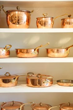 Check out these beautiful copper pots, pans, and vintage copper decorating ideas as well as tips for cleaning copper and copper health benefits. Copper Utensils, Copper Pans, Copper And Brass, Kitchen Utensils, Kitchen Gadgets, Copper Decor, Kitchen Tools, Copper Kitchen Accessories, House Accessories