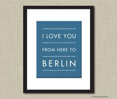 German Travel Art I Love You From Here To by HopSkipJumpPaper, $20.00