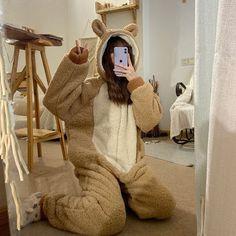Onesie Pajamas, Cute Pajamas, Pajamas Women, Pyjamas, Cute Pajama Sets, Bear Ears, Ulzzang Fashion, Kawaii Fashion, Cute Casual Outfits