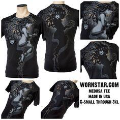 Wornstar Medusa tee available at http://www.wornstar.com/collections/mens-collection/products/medusa-tee Made in USA #wornstar #originalart #art #music #rocknroll