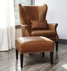 Clinton Modern Wingback Leather Chair with Nailheads Saddle Leather Leather Wingback Chair, Leather Ottoman, Leather Chairs, Saddle Leather, Swivel Chair, Wooden Dining Room Chairs, Living Room Chairs, Living Rooms, Dining Table