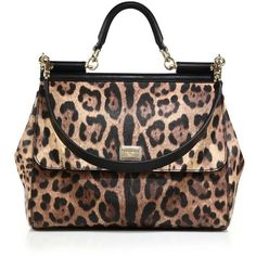 Dolce & Gabbana Sicily Large Leopard-Print Textured Leather Top-Handle... (37937940 BYR) ❤ liked on Polyvore featuring bags, handbags, leopard, satchels, satchel purses, flap purse, dolce gabbana purses, leopard print purse and top handle handbags