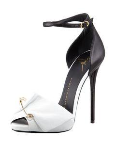 Safety Pin Leather Sandal, Black/White by Giuseppe Zanotti at Bergdorf Goodman.