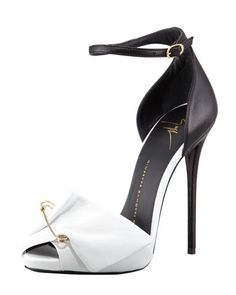 Safety Pin Leather Sandal, Black/White by Giuseppe Zanotti at Bergdorf Goodman.