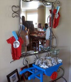 Dr. Seuss baby shower for twins: Thing 1 and Thing 2.