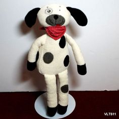 Maison Chic Dog Spotted Cream and Black Puppy Dog Plush Stuffed and Red Bandanna