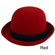 Unisex Vintage 100% Wool Trendy Bowler Hat Red