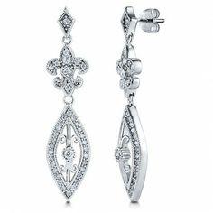 Sterling Silver Marquise CZ Fleur De Lis Art Deco Dangle Earrings