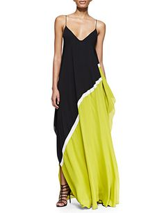 HALSTON HERITAGE Georgette Colorblock Sleeveless Gown