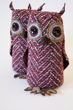 Small Fabric Owl Vintage Wool Plum Herringbone / by BlueTerracotta, €40.00