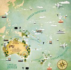 Oceanie map by Alexandre Verhille, via Behance