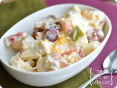 Creamy Fruit Salad - I make a version of this with fruit cocktail, chopped pecans and coconut - haven't used sour cream - did not need it.