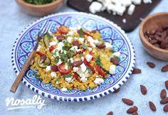 Sáfrányos-zöldséges bulgur | Nosalty Tortellini, Bruschetta, Meat Recipes, Pasta Salad, Feta, Veggies, Rice, Ethnic Recipes, Bulgur