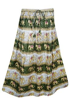 ff659ba345 Mogul Interior Womens Retro Skirts Printed A-Line Flirty Bohemian Long Skirt  (Green): Amazon.co.uk: Clothing