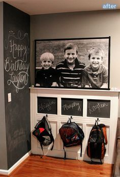 Pack it up, pack it in, let me begin …But if I had a blank wall or empty corner to spare, I would love to do something like this, chalkboard wall/command center/priceless photo of adorableness station.