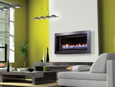Basement fireplace Contemporary Fireplace Designs, Contemporary Decor, Modern Fireplaces, Gas Fireplaces, Fireplace Surrounds, White Walls, Green Walls, Living Room Designs, House Design