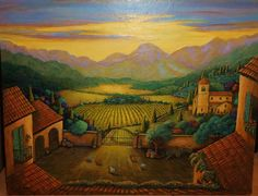Landscape Painting of Tuscany a 16x20 farm painting by GramsArt, $225.00