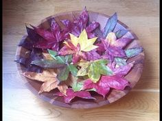Cómo conservar hojas otoñales para adornar. Sólo un poco de pegamento escolar y hasta se le podría añadir un poco de color