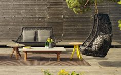 Designed by Patricia Urquiola, the new Maia Rope by Kettal is an upgrade of the classic Kettal Maia furniture collection. It's made with a hand-braided nautical rope and teak. Outdoor Seating, Outdoor Spaces, Outdoor Chairs, Outdoor Living, Outdoor Decor, Swing Chairs, Outdoor Photos, Patricia Urquiola, Outdoor Furniture Design
