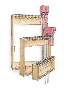 Space-Saving Rack for Bar Clamps – Garage Organization DIY Woodworking Joints, Woodworking Machinery, Woodworking Workshop, Fine Woodworking, Woodworking Projects, Woodworking Bench, Woodworking Beginner, Woodworking Organization, Woodworking Supplies