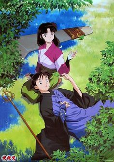 Sango and Miroku, Inuyasha Inuyasha Fan Art, Kagome And Inuyasha, Miroku, Kagome Higurashi, Me Me Me Anime, Anime Love, Manga Anime, Anime Art, Arte Sailor Moon