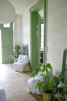 French chateau green paint ; Gardenista