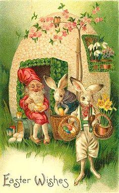 Гном и пасхальные зайцы.