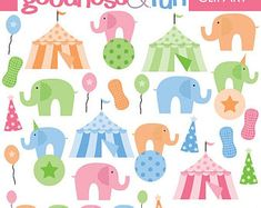 Buy 2, Get 1 FREE - Little Peanut Clipart - Digital Elephant Clipart - Instant Download
