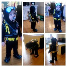 "HOMEMADE costume -  My own little Jr. Scuba Diver <3    As a Dive Instructor myself, my ""baby"" boy (17month) had to be a Jr. Scuba-Diver for our Danish Haloween in february :-)  _________________________    Min egen lille HomeMade:  Mr. William Krebs-Arnbo, Jr. Dive Instructor ♥    Så fik han tøjet på og det var bare en fest! Nu tuller han så rundt i det henne i vuggestuen - total hyggeligt!"