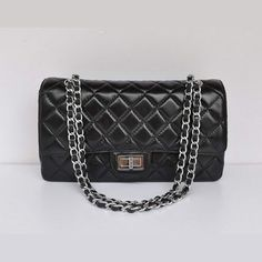 Replica Handbags 1113 Chanel Classic Flap Bag Black Silver Replicas Designer Bags