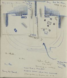 Created by: McCahon, Colin  Title: Sketch plan relating to festival of Baxter's plays in Wellington.  Date: 1970  Location: Hocken Pictorial Collections - 74/230