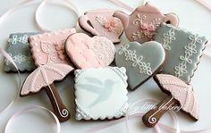 Pink and silver cookies. I need to make chocolate sugar cookies more often. Cupcakes, Cupcake Cookies, Sugar Cookies, Cocoa Cookies, Baking Cookies, Bolacha Cookies, Galletas Cookies, Lace Cookies, Royal Icing Cookies