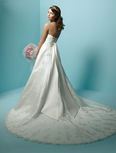 A-line Strapless Cathedral Train Lace Wedding Dress #20379017
