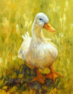 """""""Sunny Side Duck"""" Oil on Raymar Panel, 14"""" x 11"""". I painted one of my favorite duck images again in a larger size.  It's nice to have a plump, happy duck around the studio!"""