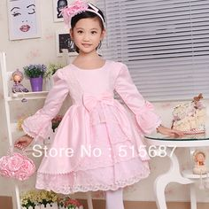 Free shipping !2013 Autumn and Winter  long-sleeve dress princess dress flower girl dress pink/white For 2-12Y $39.99