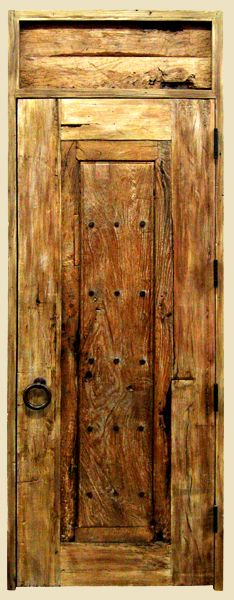Entry Closet Door with Solid Transom  Created with Antique Mexican Door and Reclaimed Douglas Fir  Features Clavos and Pull Ring with Round Escutcheon  8600-07 Wimer