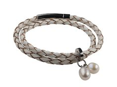 Teton Mountaineering Bracelet Double Leather Wrap - Pearls by Shari - National Cowboy Museum