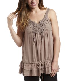 This Simply Irresistible Taupe Beaded-Crochet Peasant Tank by Simply Irresistible is perfect! #zulilyfinds