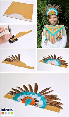 Indianerkostüm selber machen – Bastelnmitkids – Rebel Without Applause Indian Theme, Red Indian, Indian Party, Carnival Costumes, Diy Costumes, American Indians, Native American, Diy For Kids, Crafts For Kids