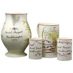 Group of English Creamware Pottery Tankards and Pitchers Named and Dated 1784