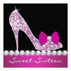 High Heels Hot Pink Sweet Sixteen Birthday Party Invite