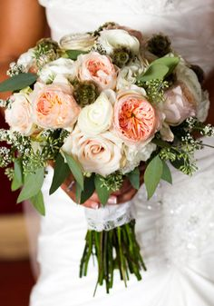 Gorgeous peach, white and green bouquet