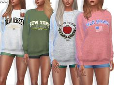 The Sims Resource: Sporty and Everyday Sweatshirts by Pinkzombiecupcakes Los Sims 4 Mods, Sims 4 Game Mods, Sims 4 Tsr, Sims Cc, Sims 4 Dresses, Sims 4 Outfits, Sims 4 Cc Kids Clothing, Sims 4 Characters, Sims4 Clothes