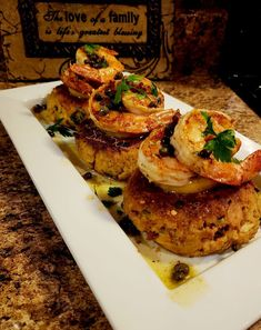 Lump Crab Cakes Topped with Jumbo Shrimp