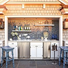 great outdoor beach wetbar - love this but does anyone know how to protect stainless from the salt air?  Have stayed in a 4 year old beachfront home with a outdoor built in stainless grill that has rusted out.  Marine varnish and heat doesn't seem like it would mix.