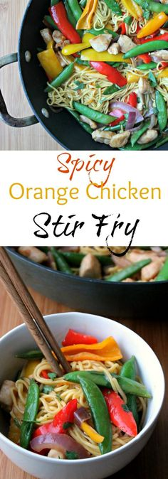 20 MINUTES is what you need to create this SPICY ORANGE CHICKEN STIR FRY dinner.  Stir Fry is a great option for weeknight meals because they come together so quickly.  This one gets a bit of spice from sriracha.  If you want to dial back the heat, just lessen the amount of sriracha.   AD