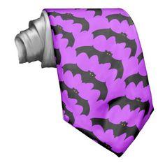 Black Bats with Orange Eyes Batty Purple Necktie