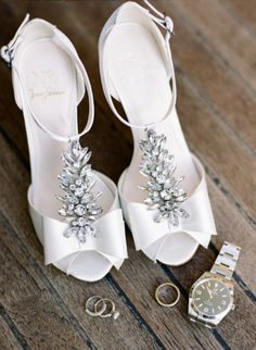 Glam white wedding shoes: http://www.stylemepretty.com/little-black-book-blog/2015/05/26/romantic-early-morning-nyc-wedding-session/ | Photography: Rebecca Yale - http://www.rebeccayalephotography.com/