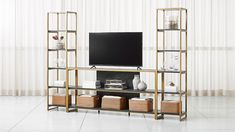 """Oxford 80"""" Black Wood Media Console with 2 Bookcases 