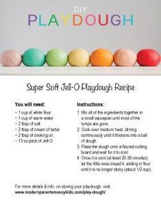 Best Homemade Playdough Ever: Jell-O Playdough Homemade playdough – If ever there was a quintessential DIY this is it! This is by far the softest homemade play doh recipe out there! Fun Crafts For Kids, Toddler Crafts, Diy For Kids, Crafts To Do, Fun Projects For Kids, Craft Kids, Toddler Fun, Summer Crafts, Creative Crafts